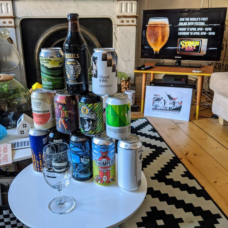 12 beers stacked up like a tower in front of the virtual beer festival stream