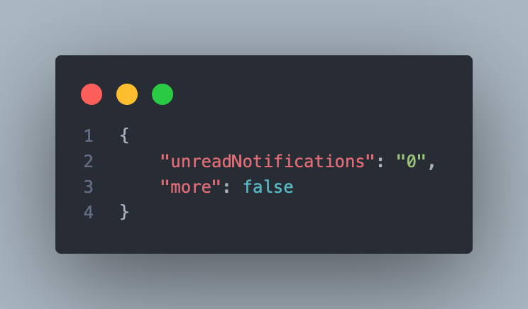 An API response for our notifications service with the unread notifications with a value of 0and more in false