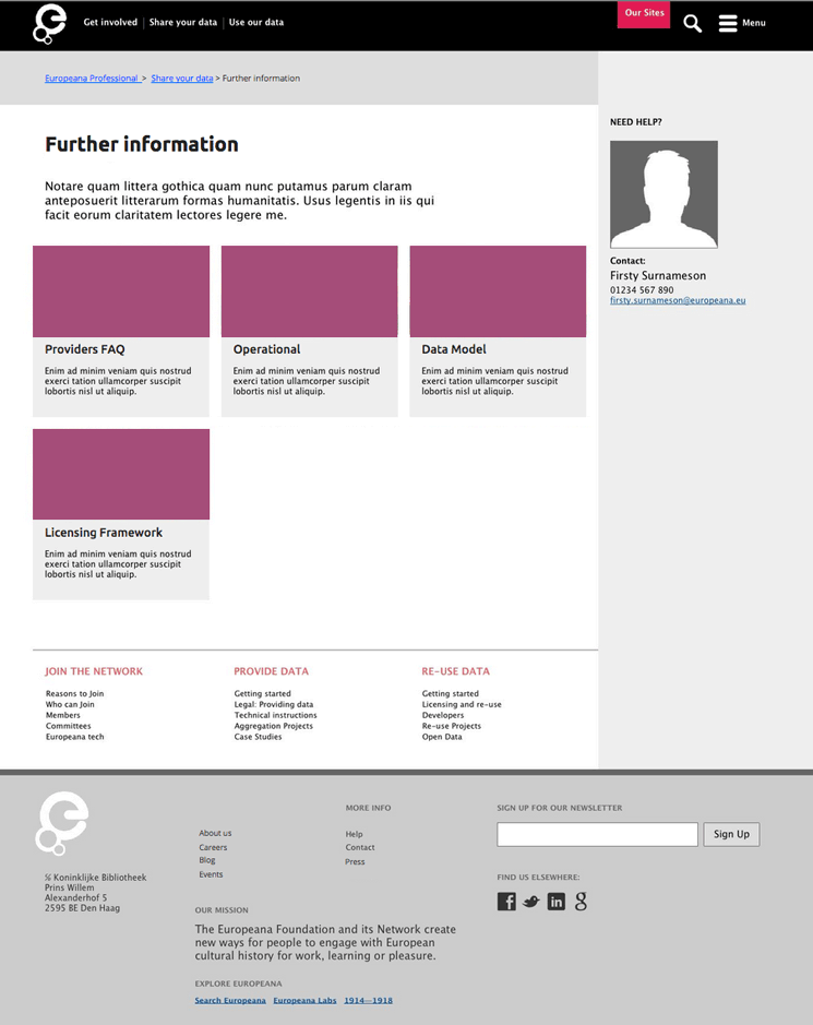 A wireframe of an overview page.