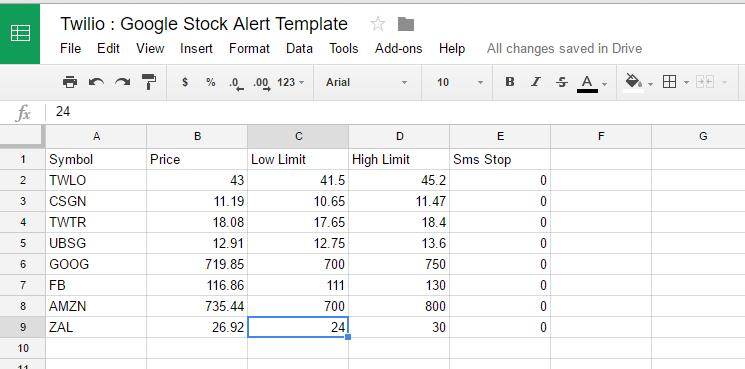 Free SMS Stock price alerts script with Twilio and Google