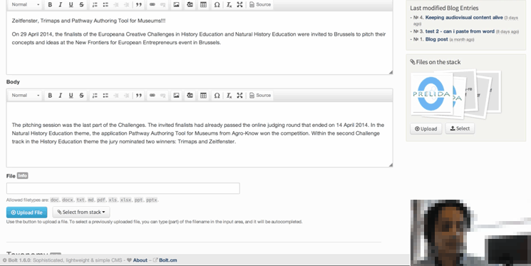 A usability test taking place with a content creator, on one of the proposed CMS'.
