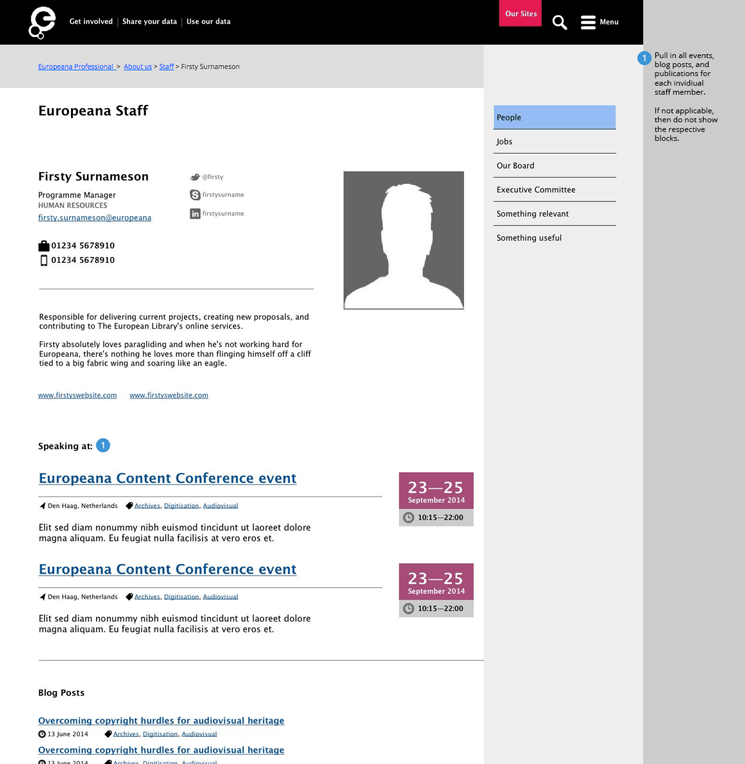 A wireframe of a staff member page, highlighting how content links together.