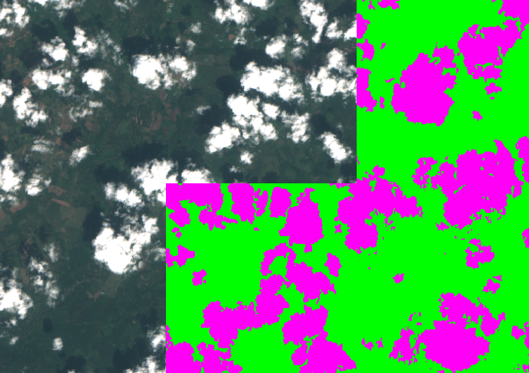 a satellite image with clouds on the left side, pink blobs on top of green background on the right side indicating clouds present in imagery