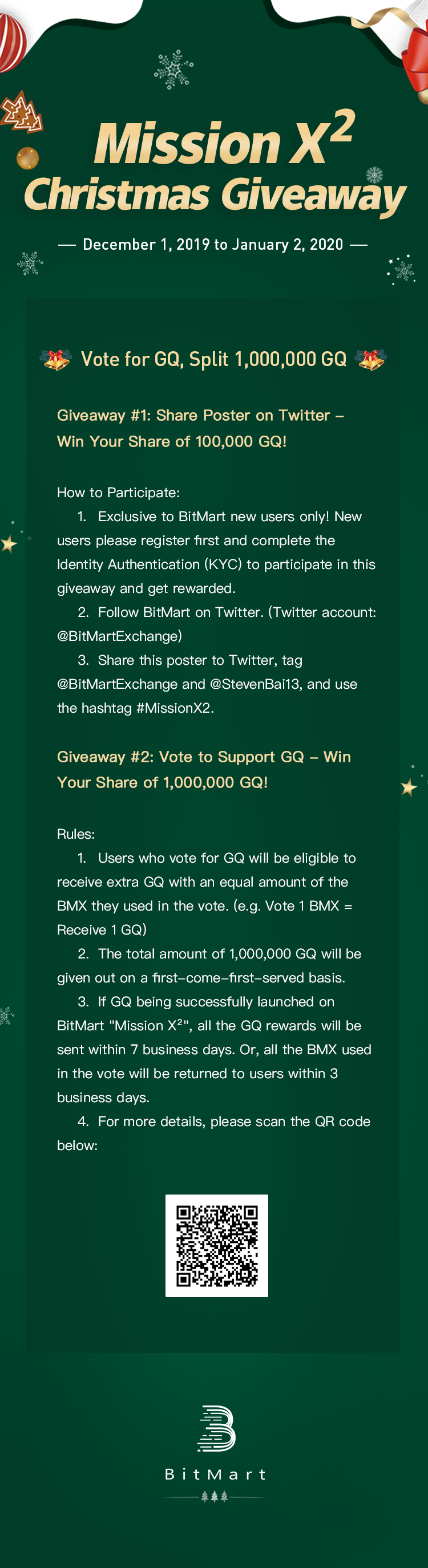 """Christmas At The Mission 2020, December 2 BitMart """"Mission X²"""" Christmas Giveaway — Millions of GQ in Prizes"""