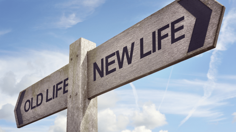 """a sign with two directions, """"old life"""" and """"new life"""""""