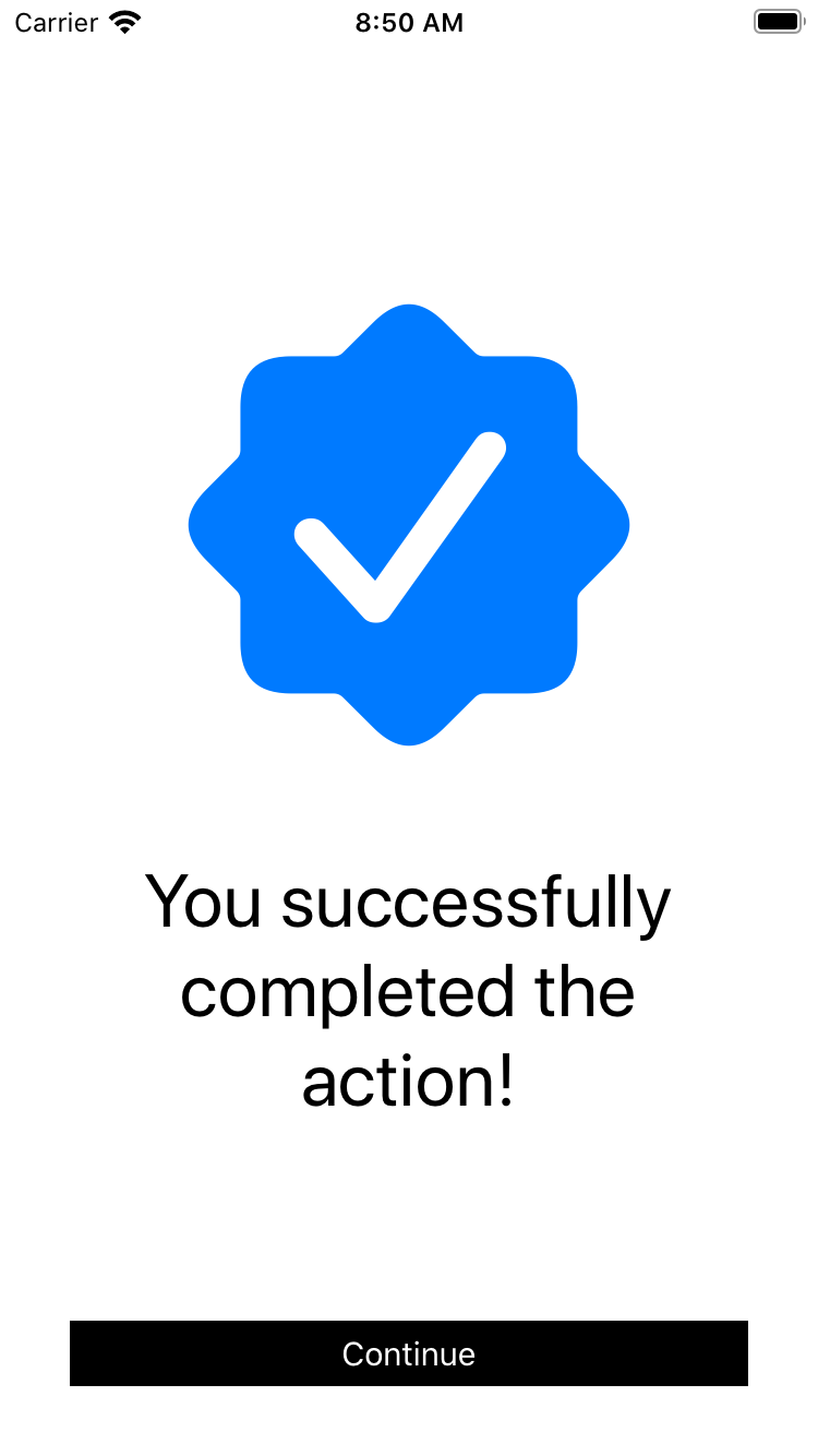 large blue checkmark icon above black text and black rectangular button