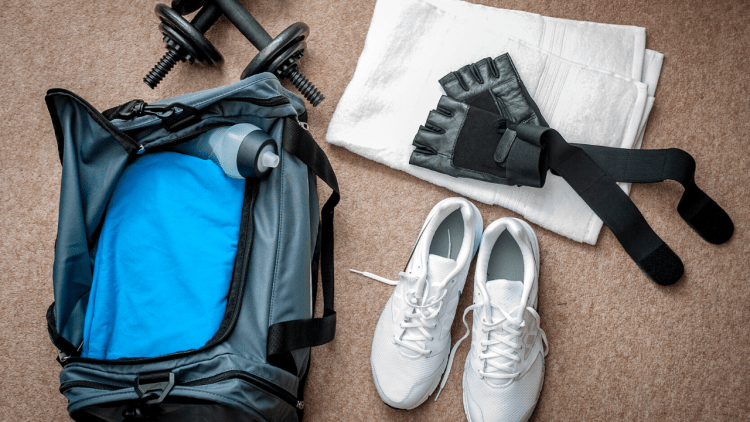 weights, gloves, shoes and a gym bag.