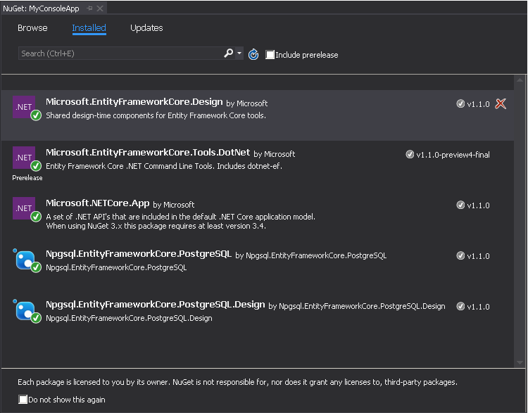 Getting Started with Entity Framework Core (PostgreSQL)