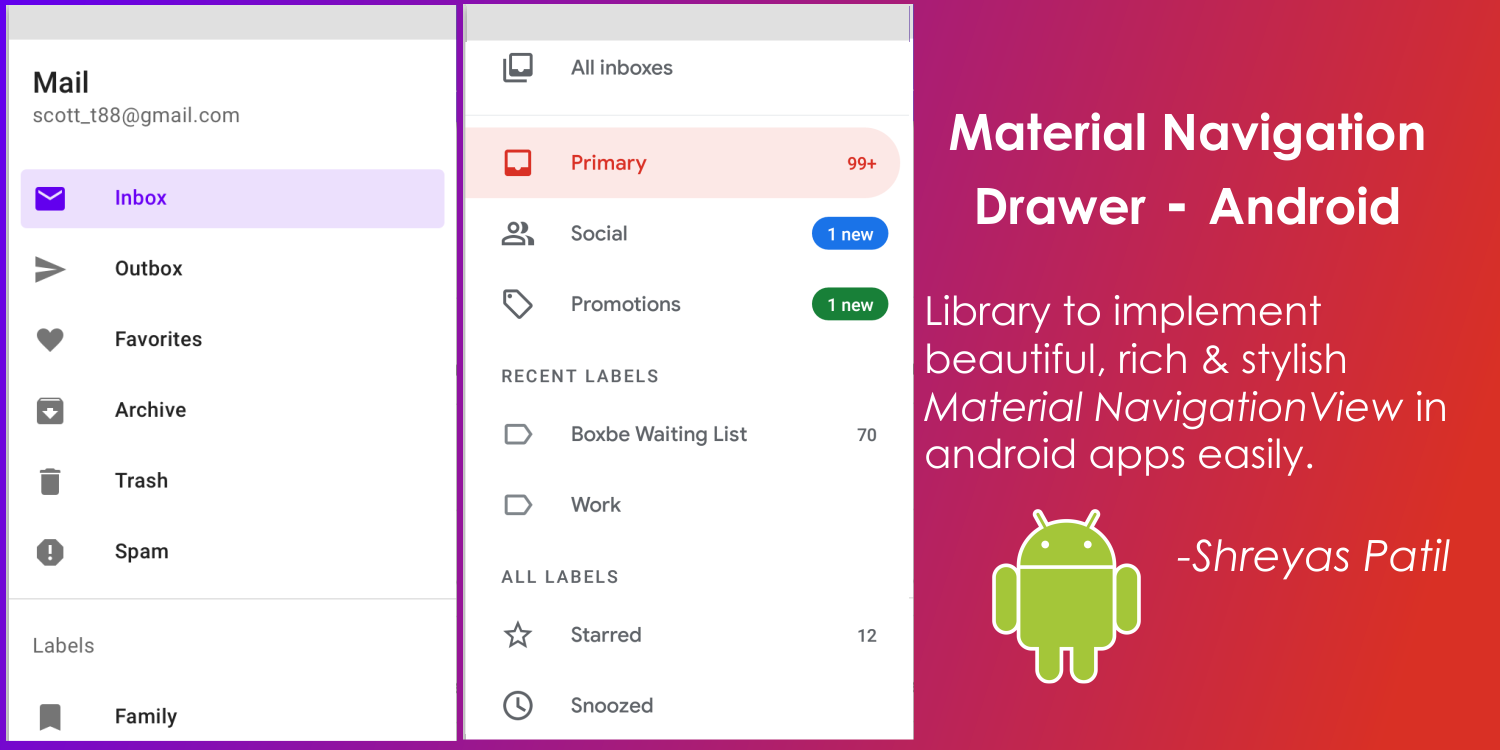 Google-Apps like Material Navigation View Drawer in Android