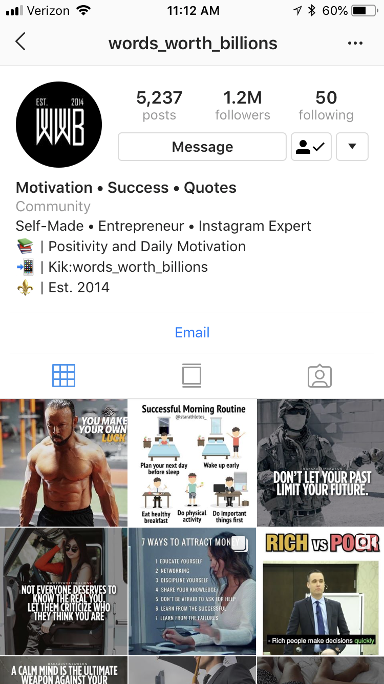An Instagram account with 1 2 million followers promoted me