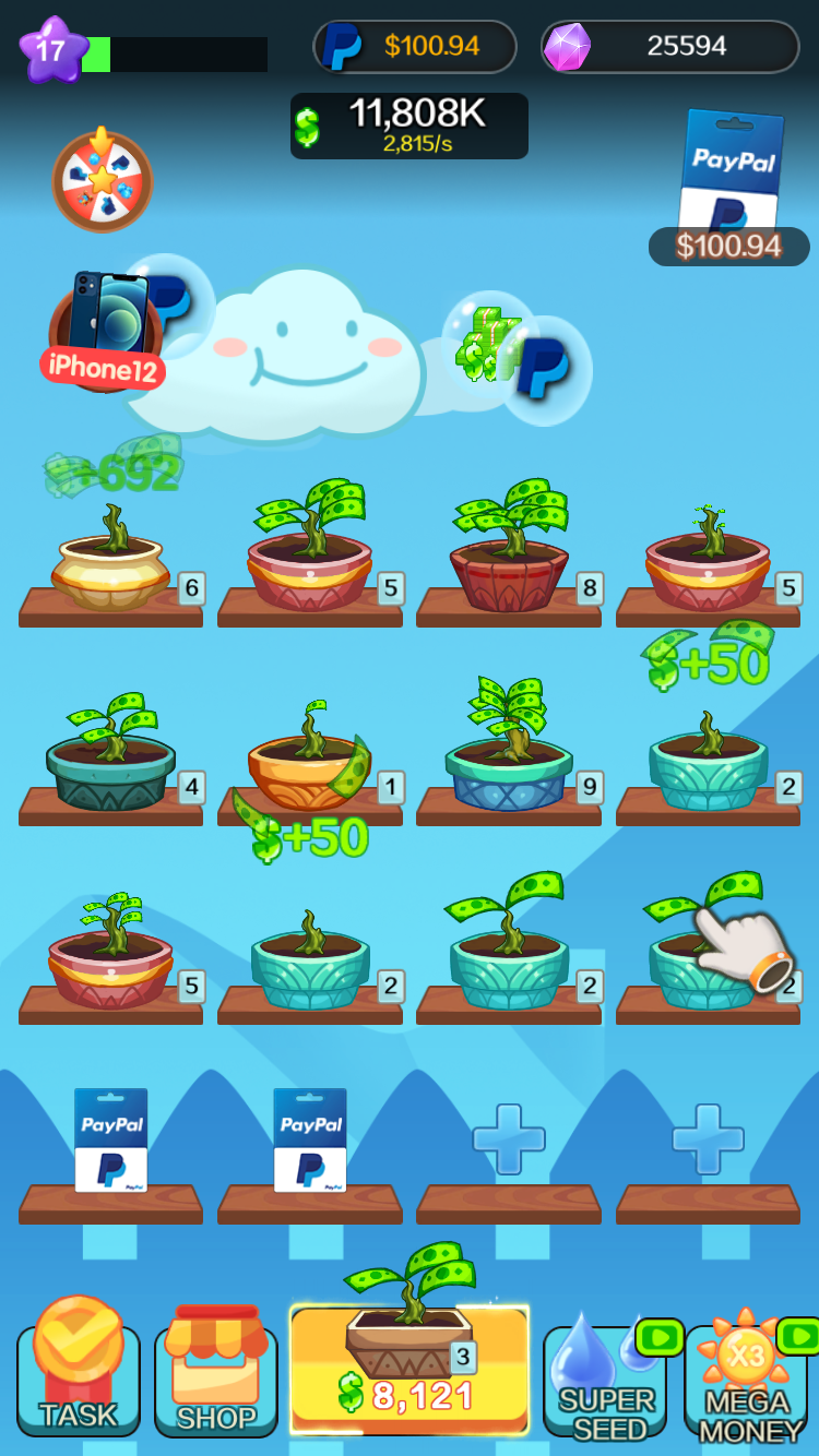 Screen capture showing rows of bonsai pots with plants which have bills as opposed to leaves.