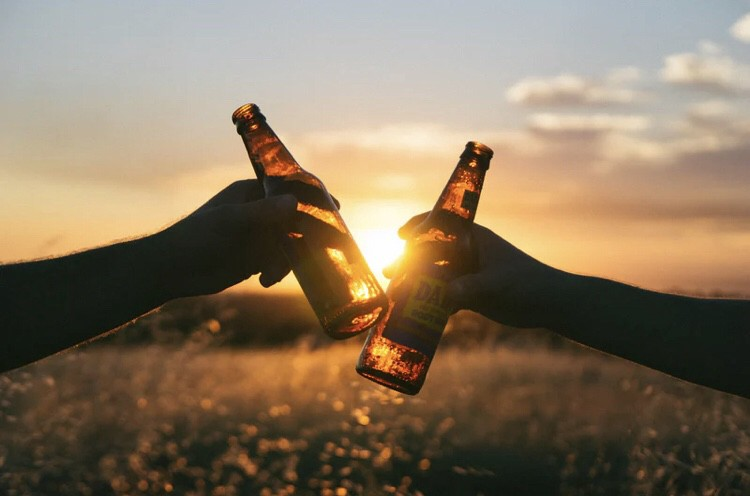 Two hands holding beer bottles clink in front of a plain with a sunset behind.