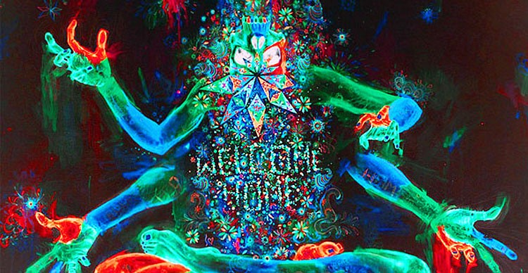 """Psychedelic imagery. Four handed creature with """"welcome home"""" on midsection of body."""