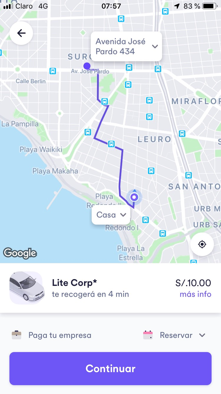 Screenshot of the Cabify app showing a line route in purple