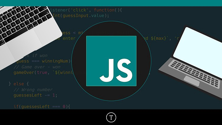 course banner image with Javascript Logo in teal colour