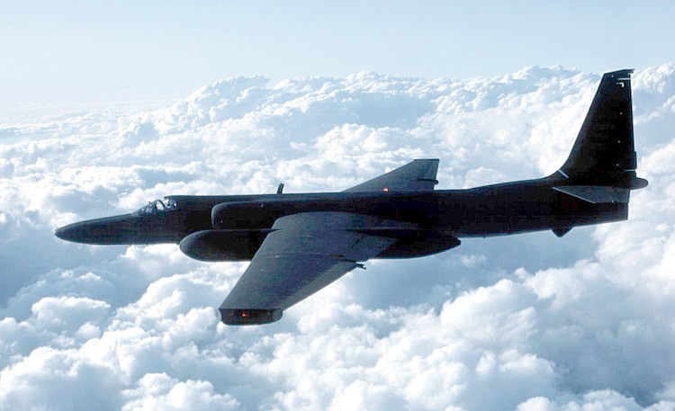 A U2 spy plan flying above the clouds