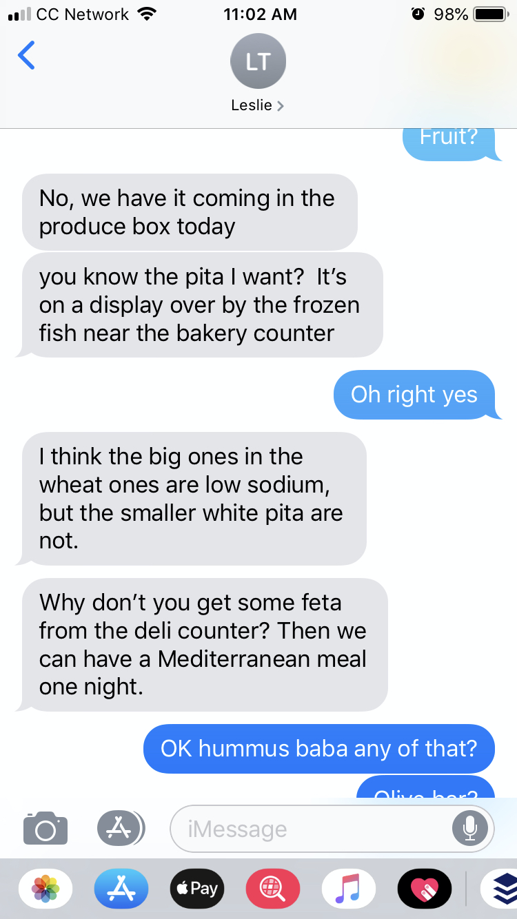 Text message exchange where I said I knew which pita bread to buy.