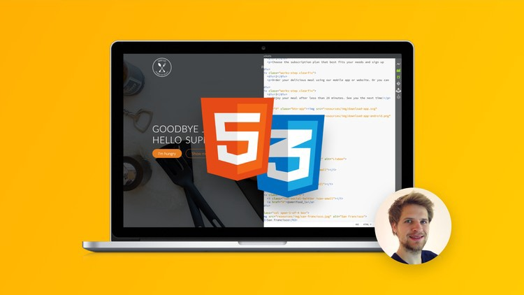 course banner image with HTML5, CSS3 logos inside a open laptop. On the side there is an image of the instructor