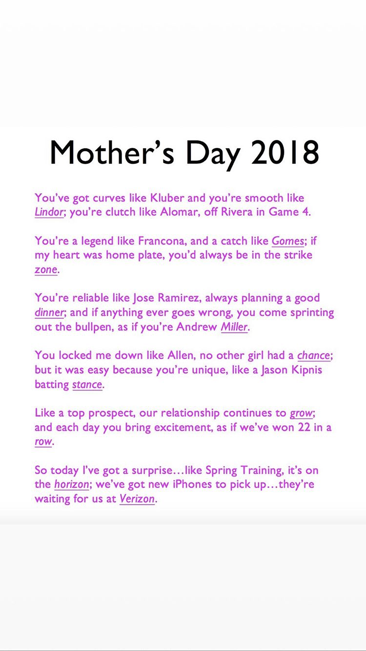 Fan Gets Epic Cleveland Indians Themed Poem For Mothers Day