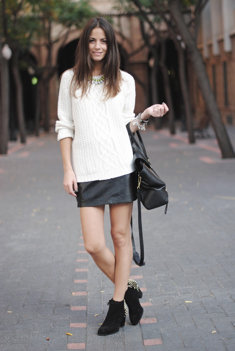mini skirt and ankle boots