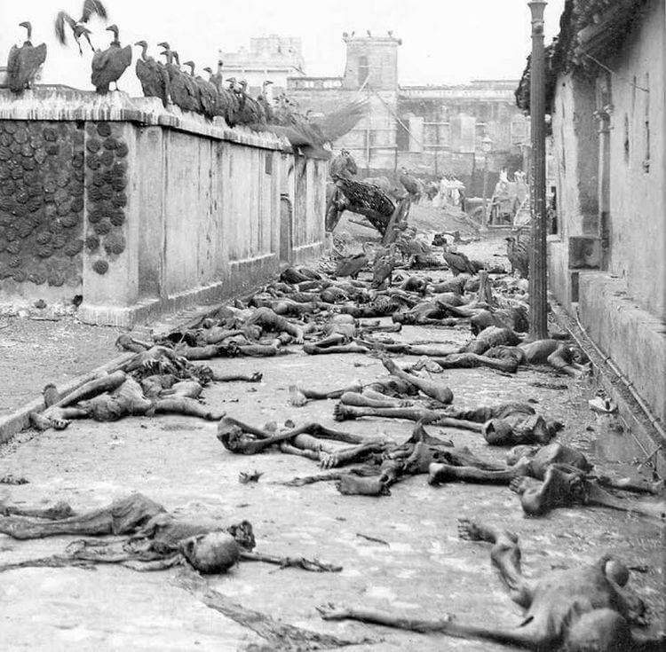 Dead bodies lying in the streets of Bengal and vultures are waiting to eat them during the 1943 Bengal famine.