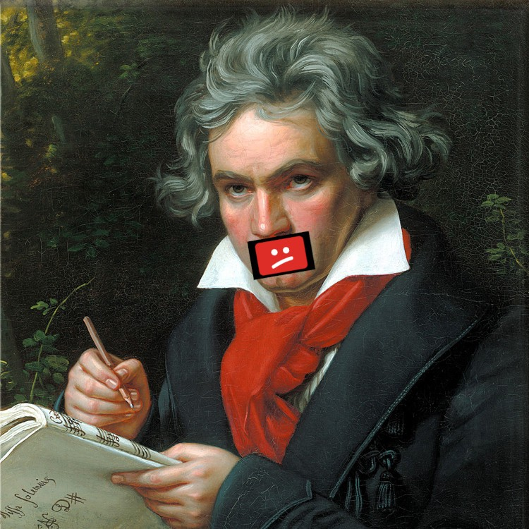 Joseph Karl Stieler's iconic 1820 portrait of Beethoven; Beethoven's mouth has been covered with a 'sad Youtube' icon.