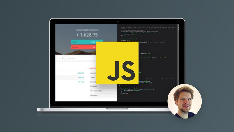 course banner image with Javascript logo inside an open laptop. At the side, there is the image of the instructor.