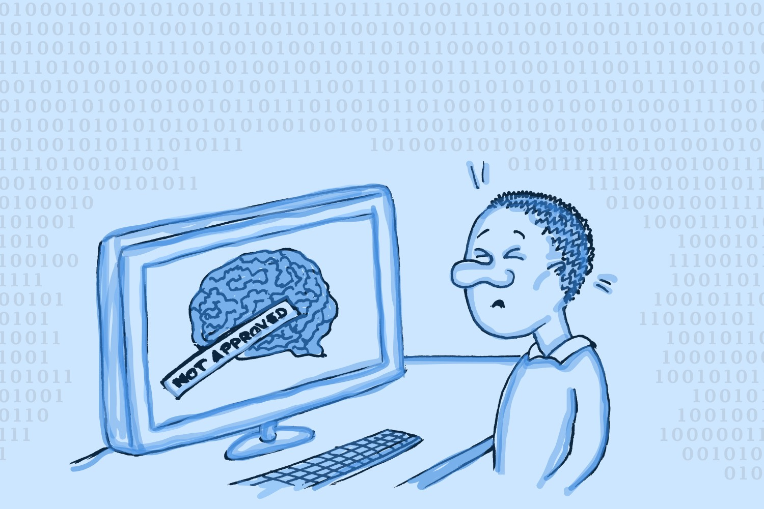 """Man sitting in front of computer showing a brain with label """"unapproved"""""""