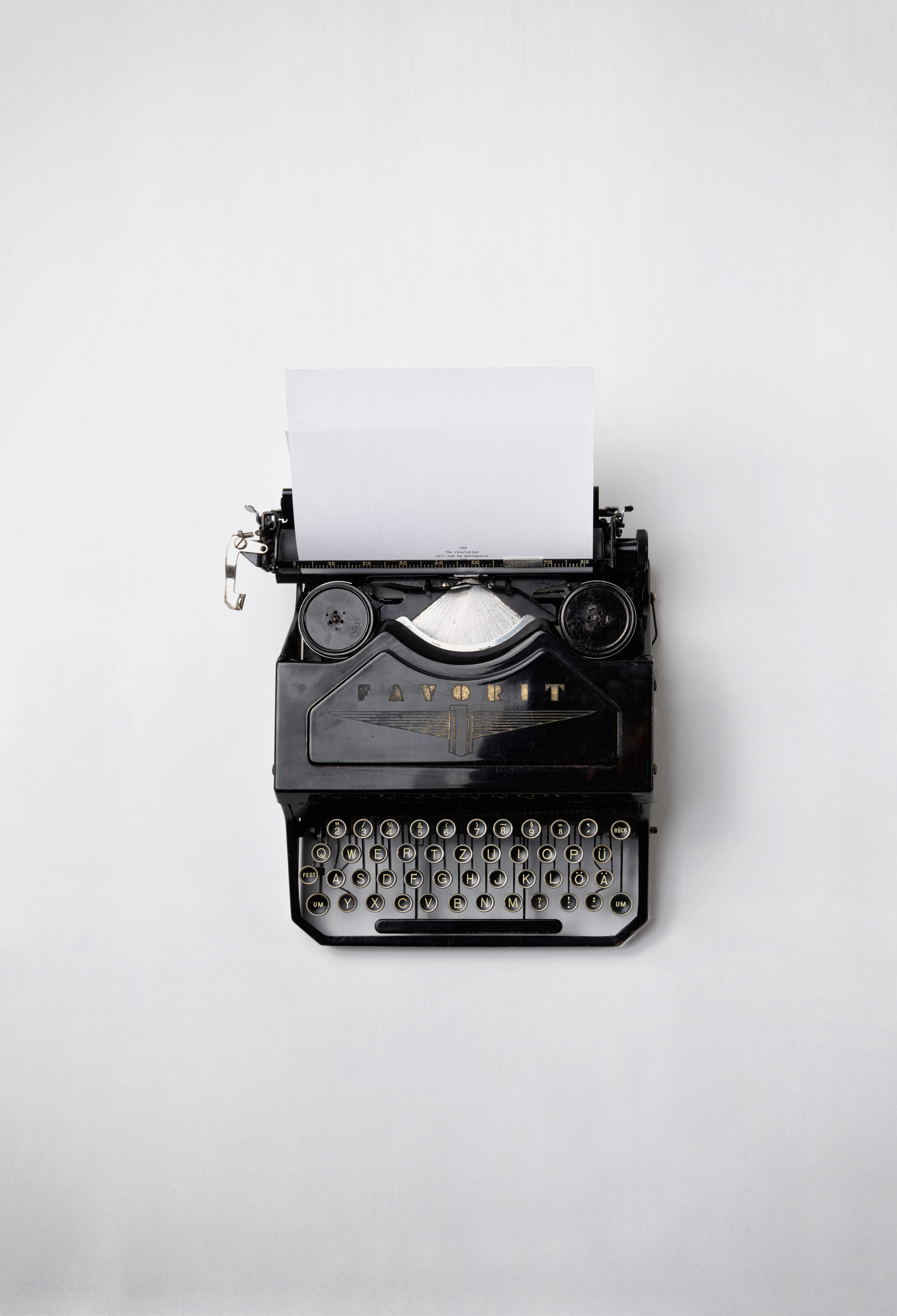 A type writer represents being ready to go to work as a freelance content creator.