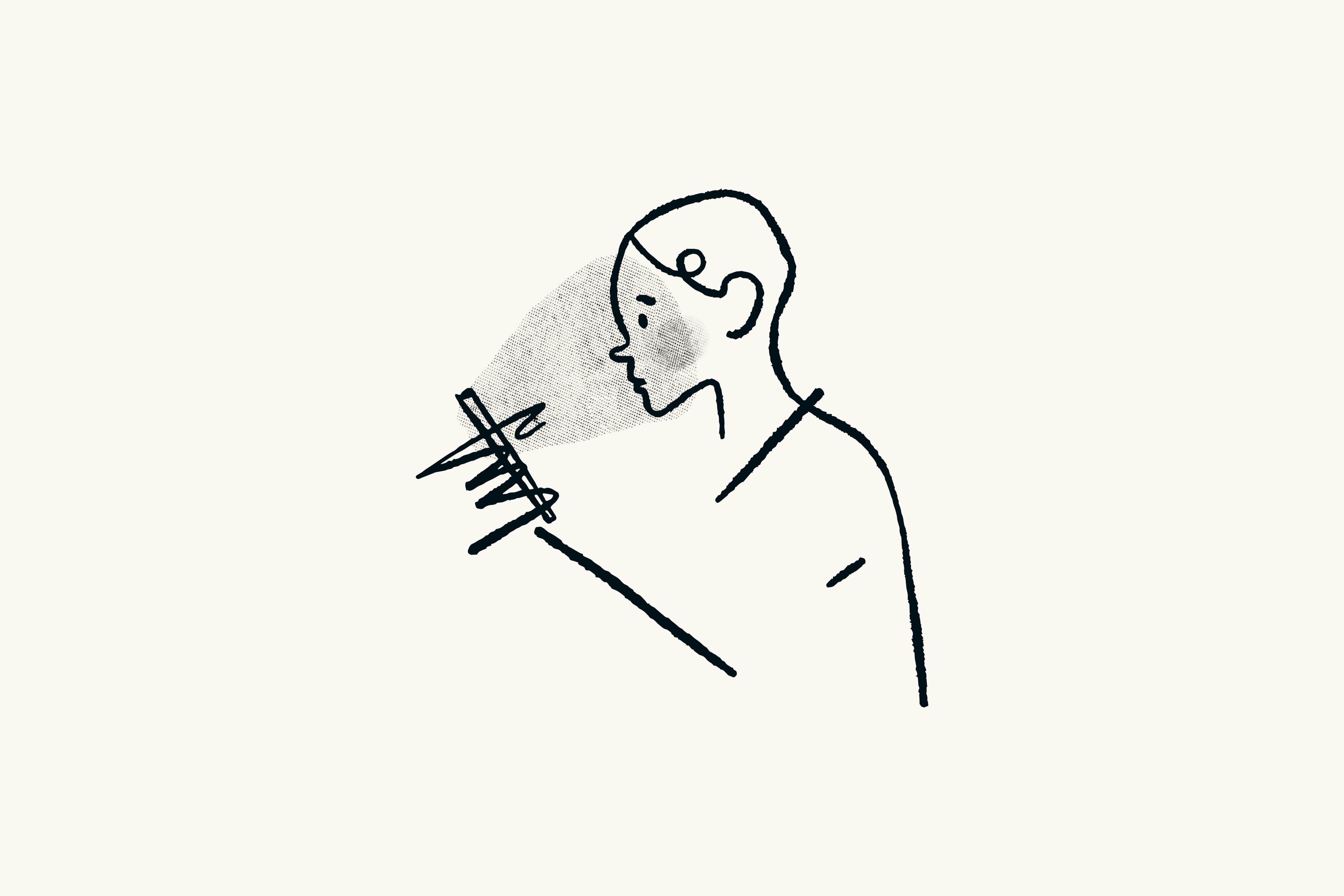 A line drawing of a woman's face being lit by the screen of her phone.