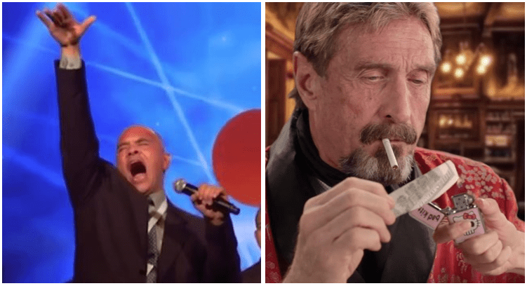 Bitconnect guy shilling a scam and John McAfee torching a $100 bill.