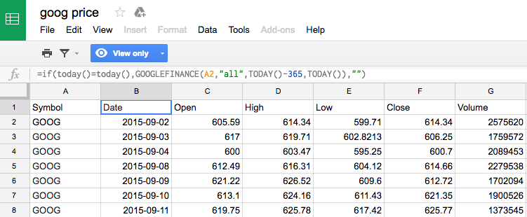 BigQuery tricks: Pull daily Google Finance Data without an