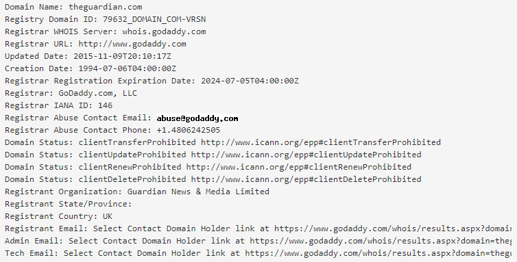 WHOIS response for The Guardian's main web domain