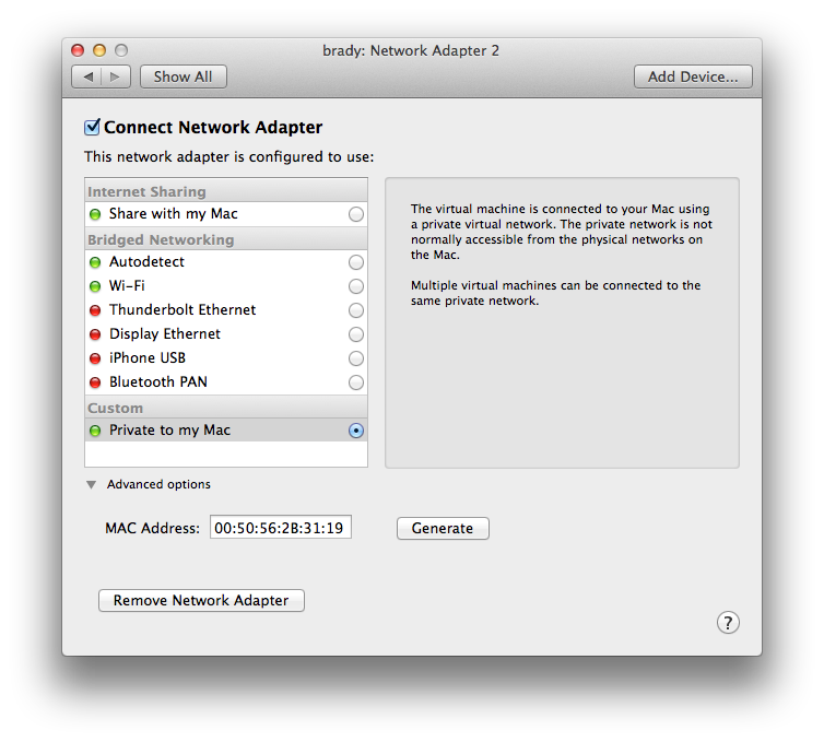 Sharing a network between your VMware Fusion Linux guest and