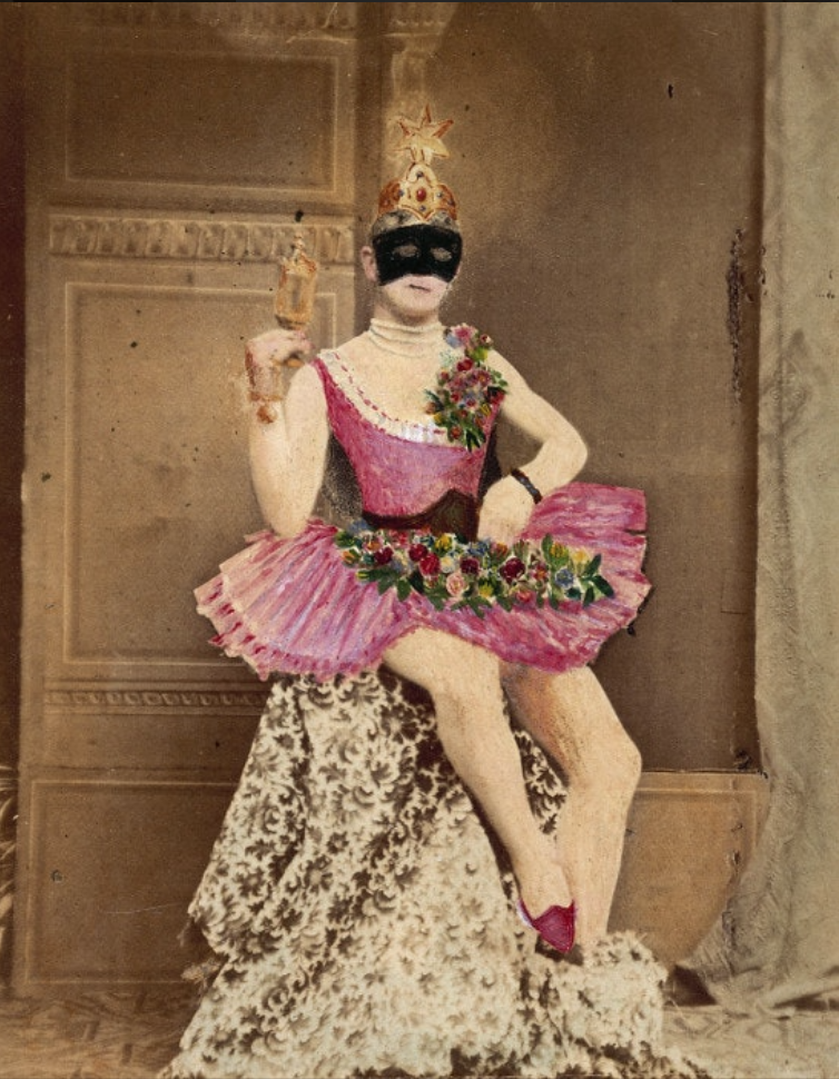 A painted photo of a man wearing a black mask and a pink tutu, with flowers on their chest and lap, seated, holding a wand.