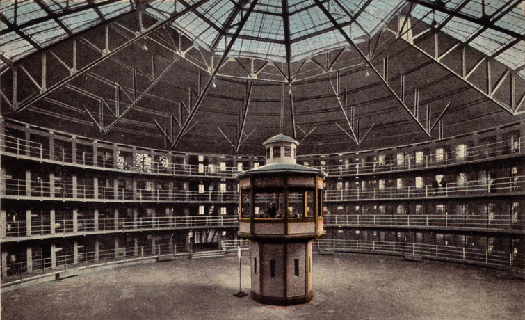 A panopticon (A prison design by Jeremy Bentham, who inspired Foucault)
