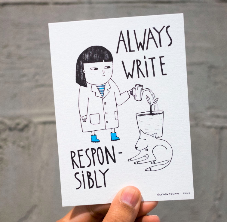 """a postcard with a title """"Alway write responsibly"""", one of the copy principals at Booking.com"""