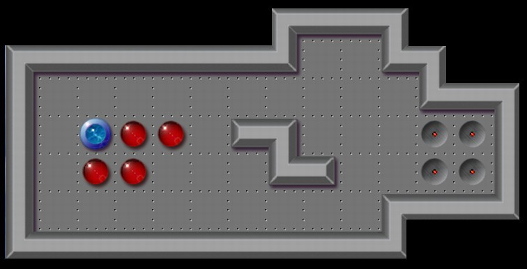 Initial state of a simple Sokoban level with four boxes and four goals.