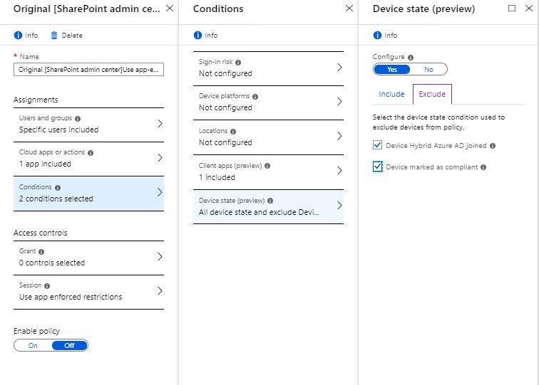 Conditional Access - app enforced restrictions  Compliance
