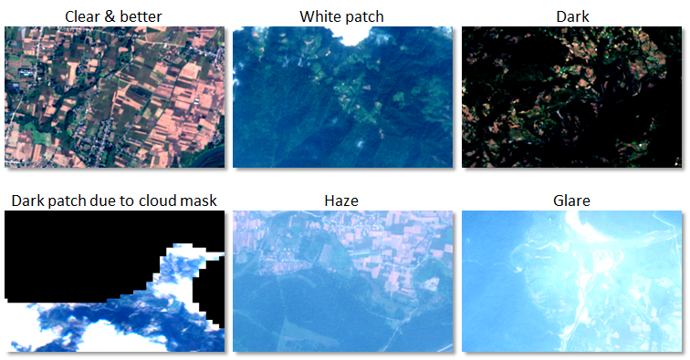 Satellite images showing different qualities