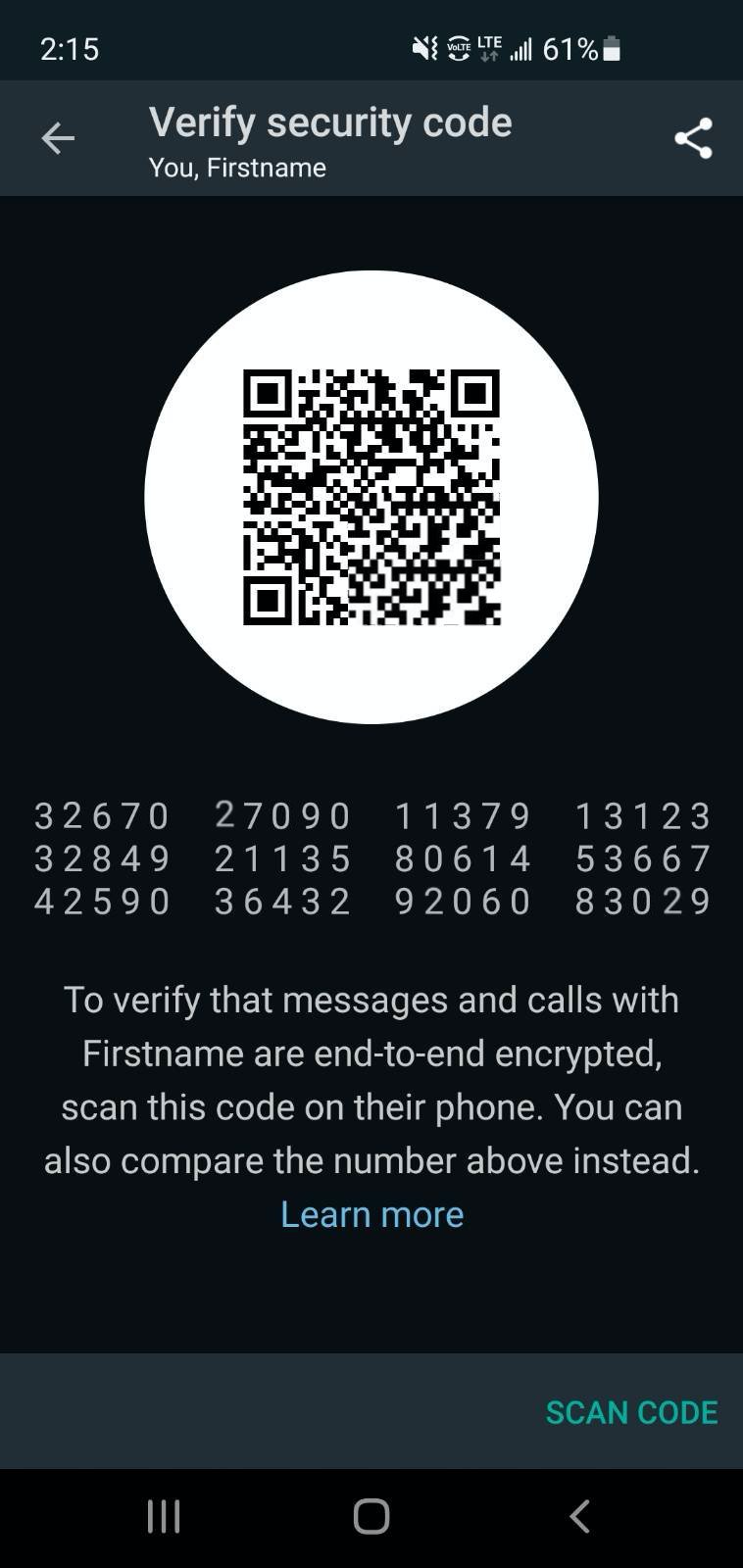 "Screenshot of a ""Vertify security code"" settings screen, displaying a numeric code and QR code."