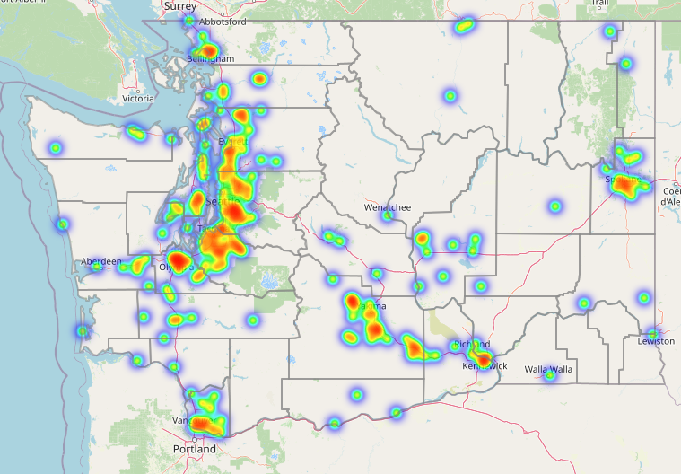 Map of Washington showing hot spots where there are high numbers of people killed by guns. The most prominent hot spots appear along the Puget Sound, Yakima area and Spokane area.