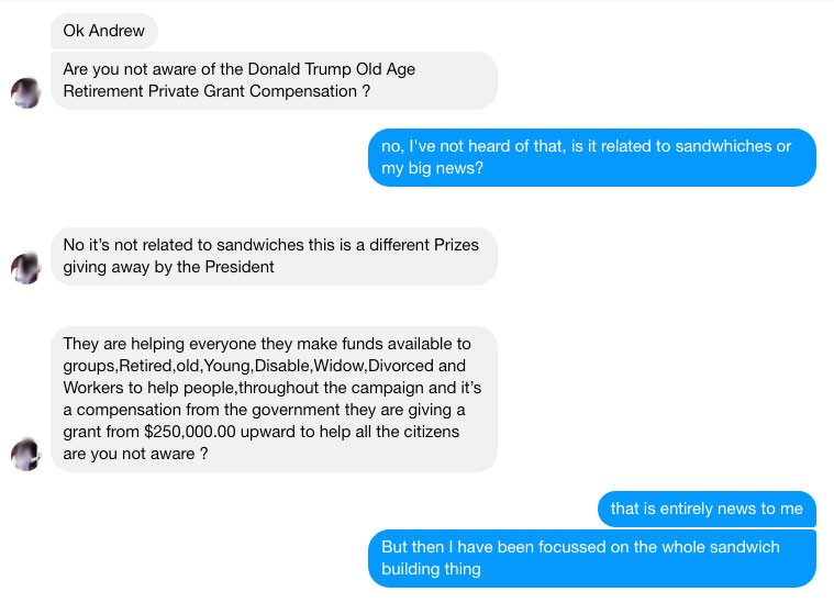 Conversation with a Facebook Scammer