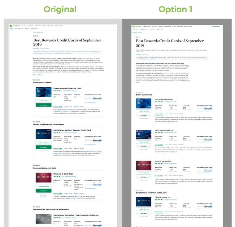 A side-by-side comparison of an existing page on NerdWallet vs. the same page, using new atoms