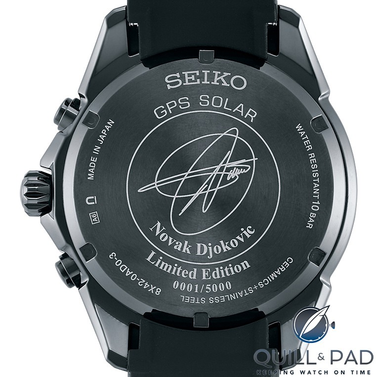 Engraved back of the Seiko Astron Novak Djokovic Limited Edition SSE143