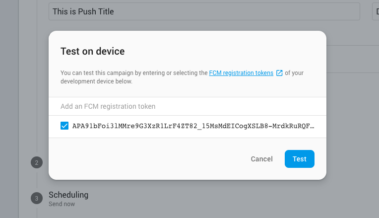 Enter your device token to send a test push