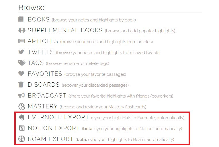 Export highlights to Evernote, Notion, or Roam Research