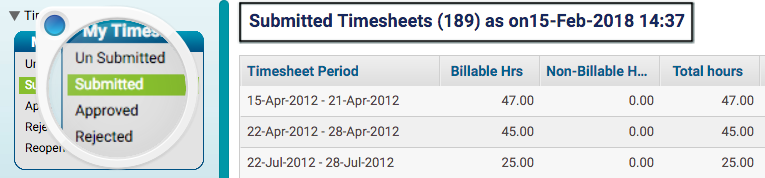 Number of Timesheet Submitted by Me - KPI for Project Team Members