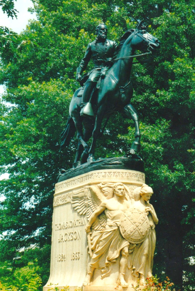 A statue in Charlottesville of Stonewall Jackson riding on his horse.