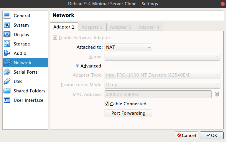 Port Forwarding for SSH & HTTP on VirtualBox - Platform